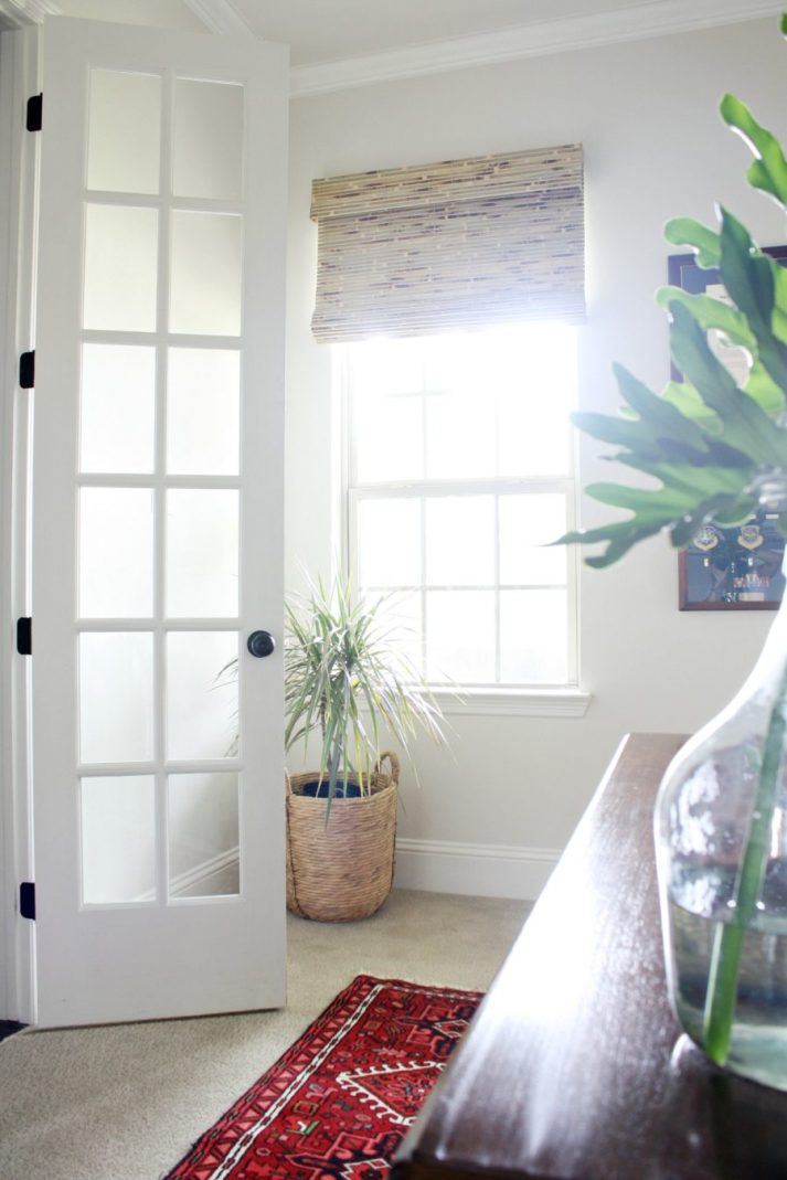 Blinds.com woven wood shades in home office with natural light and tropical plants