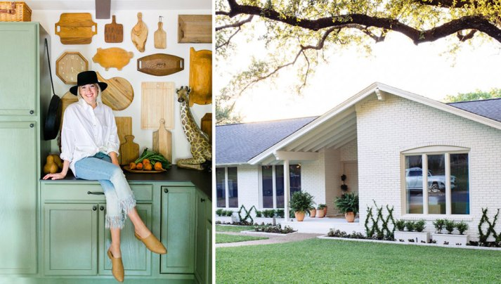Split image with interior designer Claire Brody sitting on kitchen counter and home exterior with white painted brick