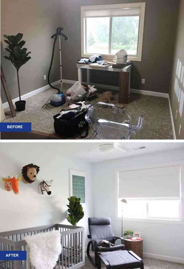 Split photo with before and after photos of home office turned into nursery with grey crib, modern lounge chair and white roman shade