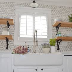 Kitchen Window Shutters Cabinet Design Template 5 Fresh Ideas For Treatments The Finishing Touch Romantic With Hexagonal Tile Backsplash Open Shelving Farmhouse Sink Industrial Faucet And