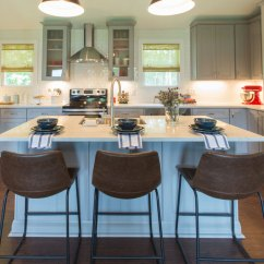 Grey Kitchen Blinds Modern Cabinet Hardware 5 Fresh Ideas For Window Treatments The Finishing Touch Eclectic With Leather Barstools Large Island Cabinets And Sheer Bamboo Shades On