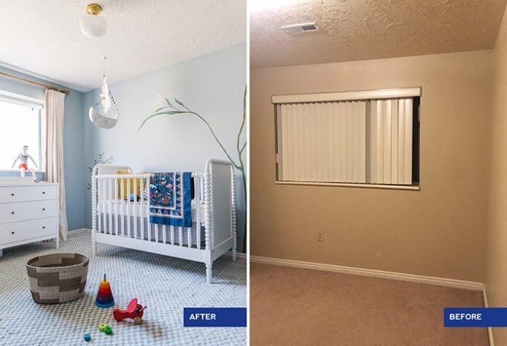 House that lars built nursery before and after, blue walls with painted fruit tree murals vs. beige room with broken vertical blinds