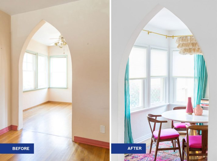 before and after dining room cellular shades with white marble table and pink wishbone chairs