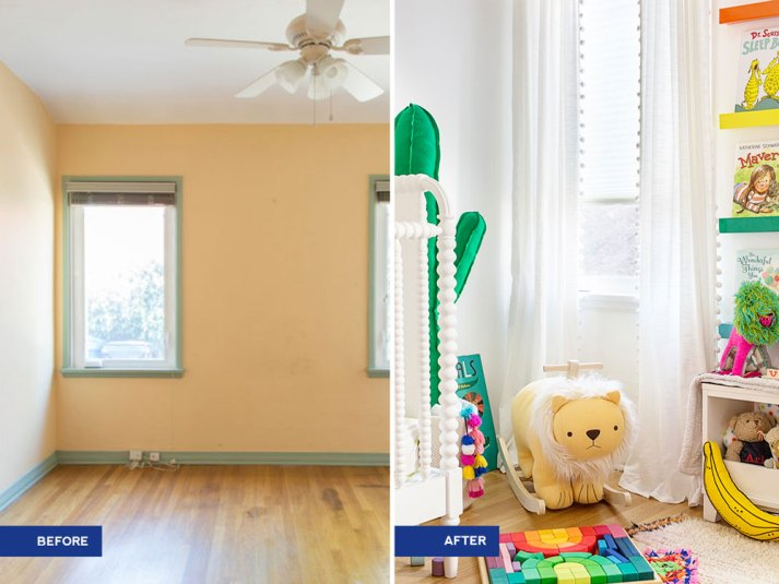 before and after gender neutral nursery with cordless cellular shades
