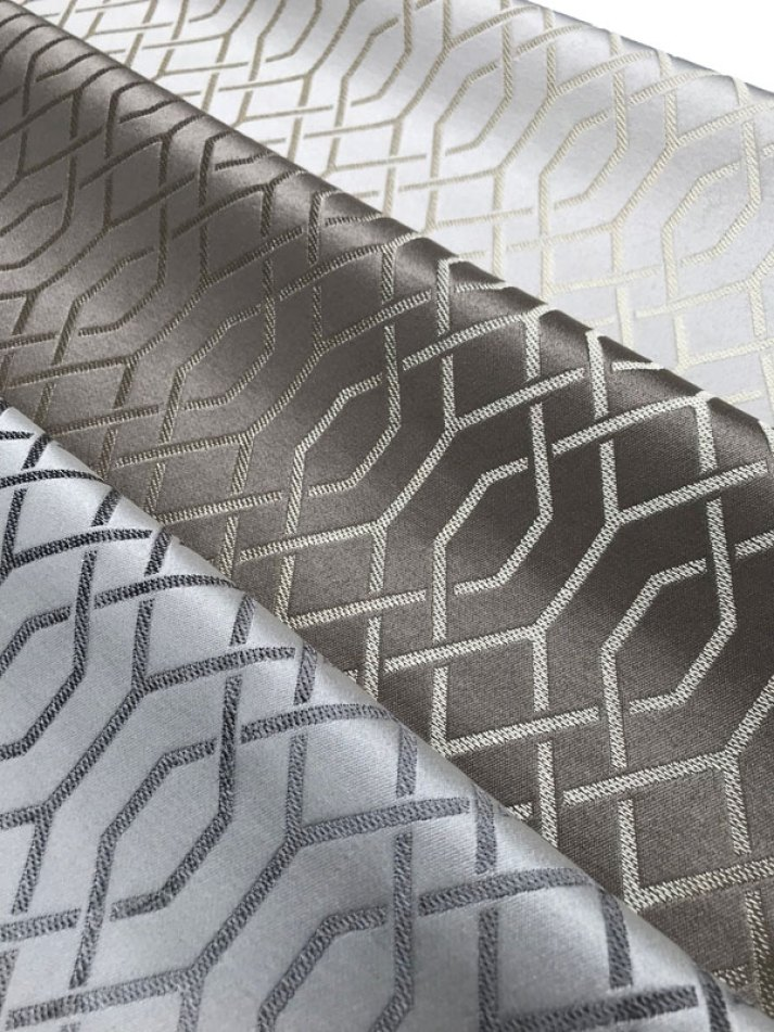 silk fabrics for roman shades with trellis pattern in metallic thread.