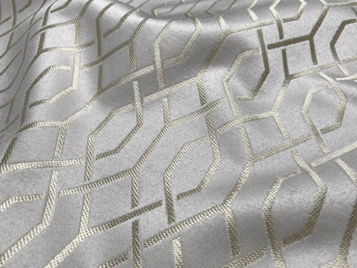 grey silk roman shade fabrics with lattice pattern in gold thread