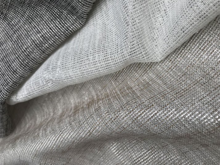 sheer linen fabrics for roman shades with metallic threads in gold white silver and black silver