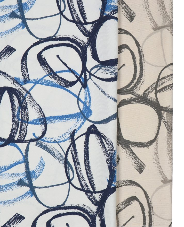 graphic fabrics for roman shades with swirly hand drawn print in blue and grey