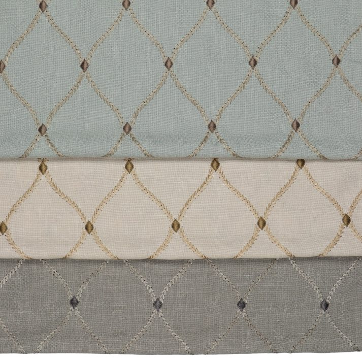 embroidered lattice roman shades fabrics in light blue, beige and grey