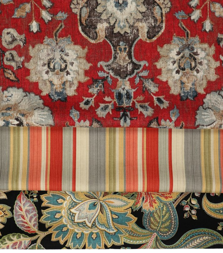 red fabrics for roman shades in damask, stripes and floral