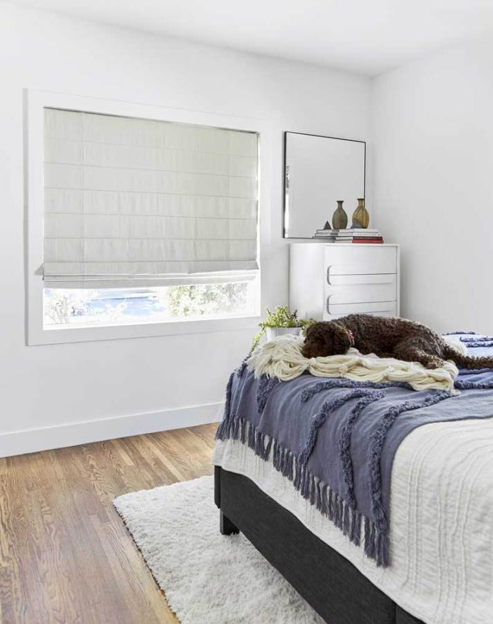 bedroom with large window covered by grey roman shades and dog sleeping on bed.