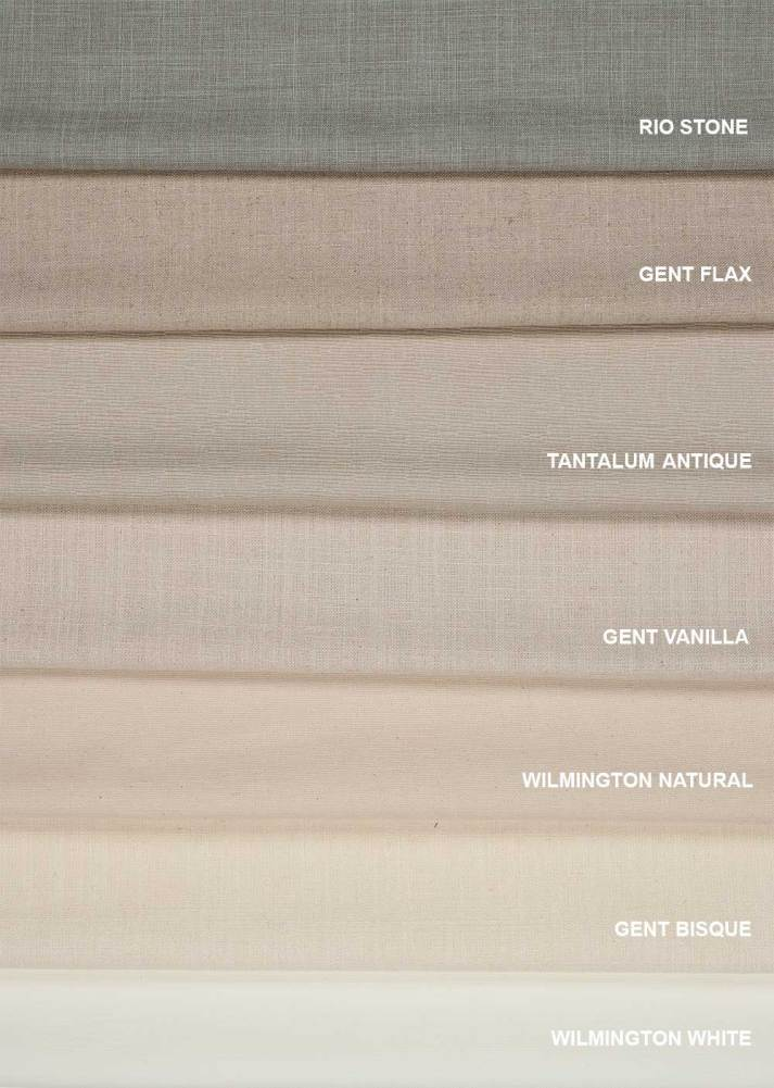 Blinds.com classic roman shades linen fabroc samples in colors rio stone, gent flax, tantalum antique, gent vanilla, wilmington natural, gent bisque and wilmington white