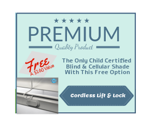 Free Cordless Lift & Lock Blind & Cellular Option