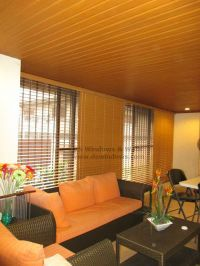 Cedar Foam Wood Blinds With Ceiling Plank Living Room