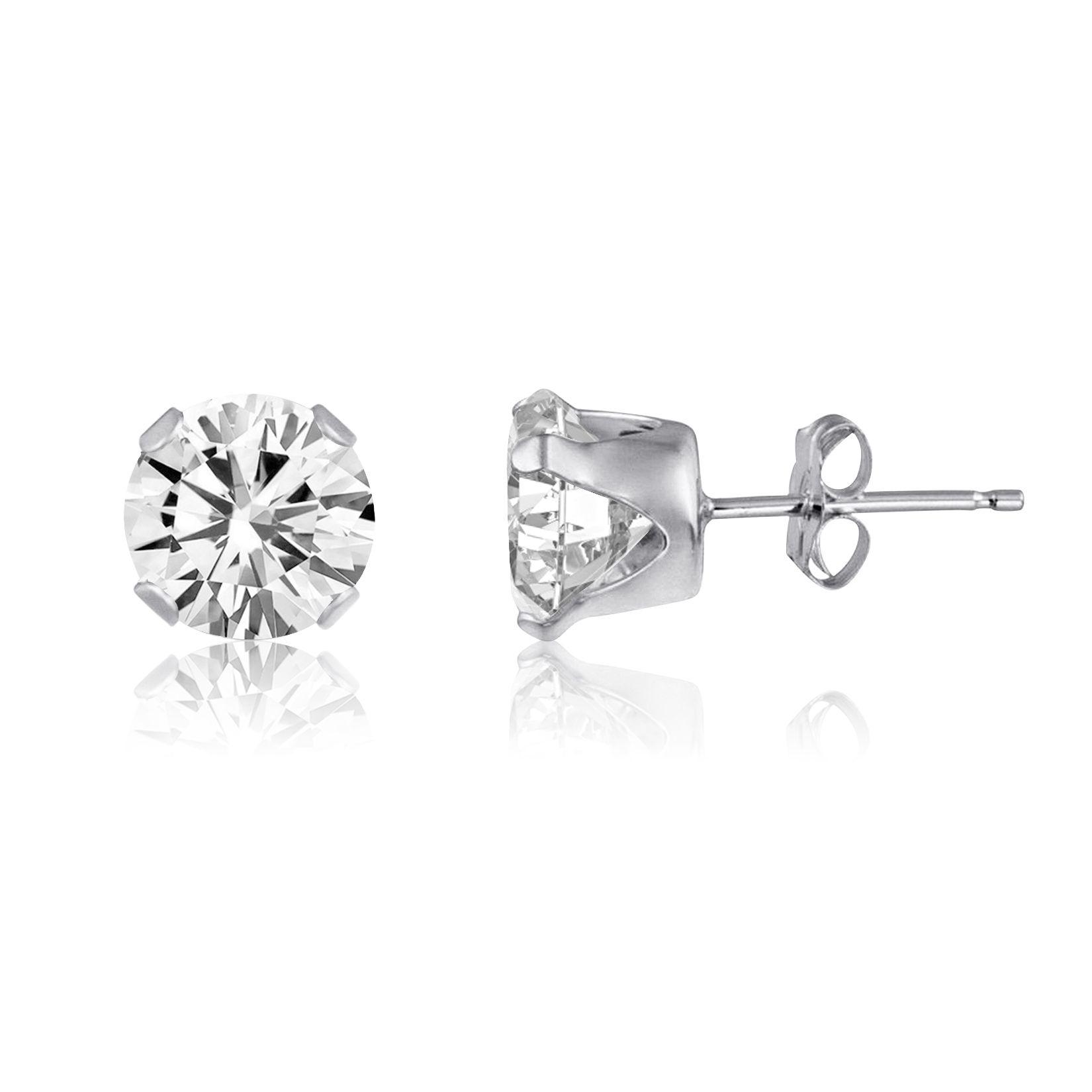 2ct White Topaz 925 Sterling Silver Stud Earrings