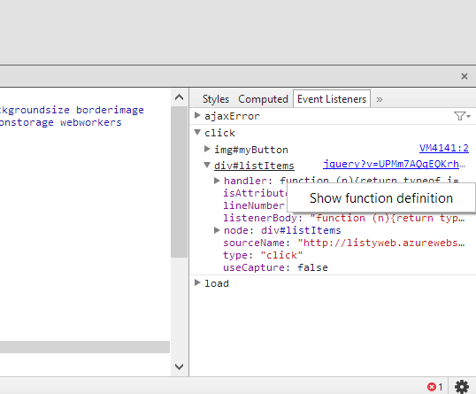 Quickly finding and debugging jQuery event handlers with