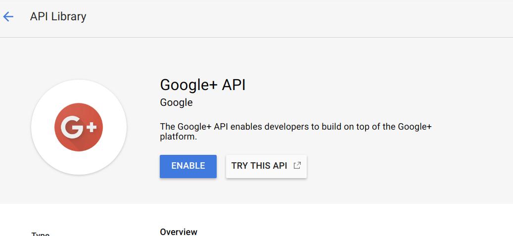 Click enable Google+ api