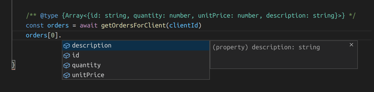 Intellisense sourced from JsDoc annotations