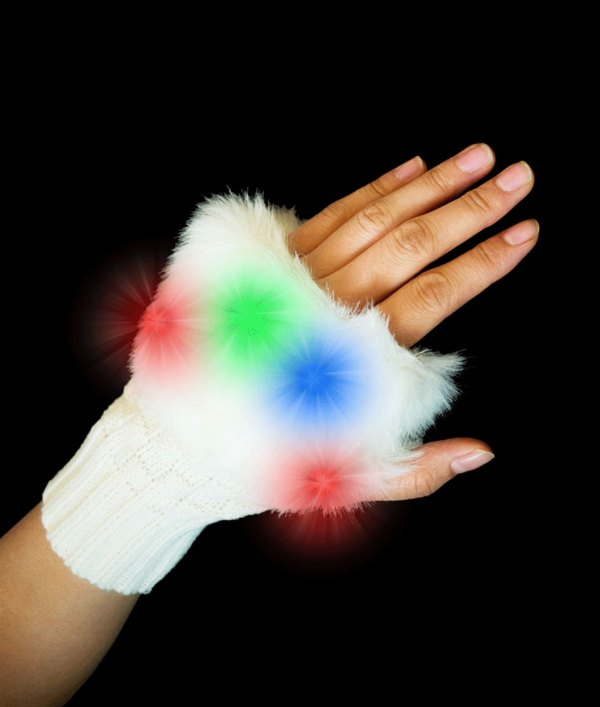 Light Fingerless Fuzzy Gloves With Leds - Great