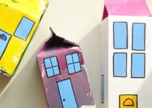 Toy village from milk cartons