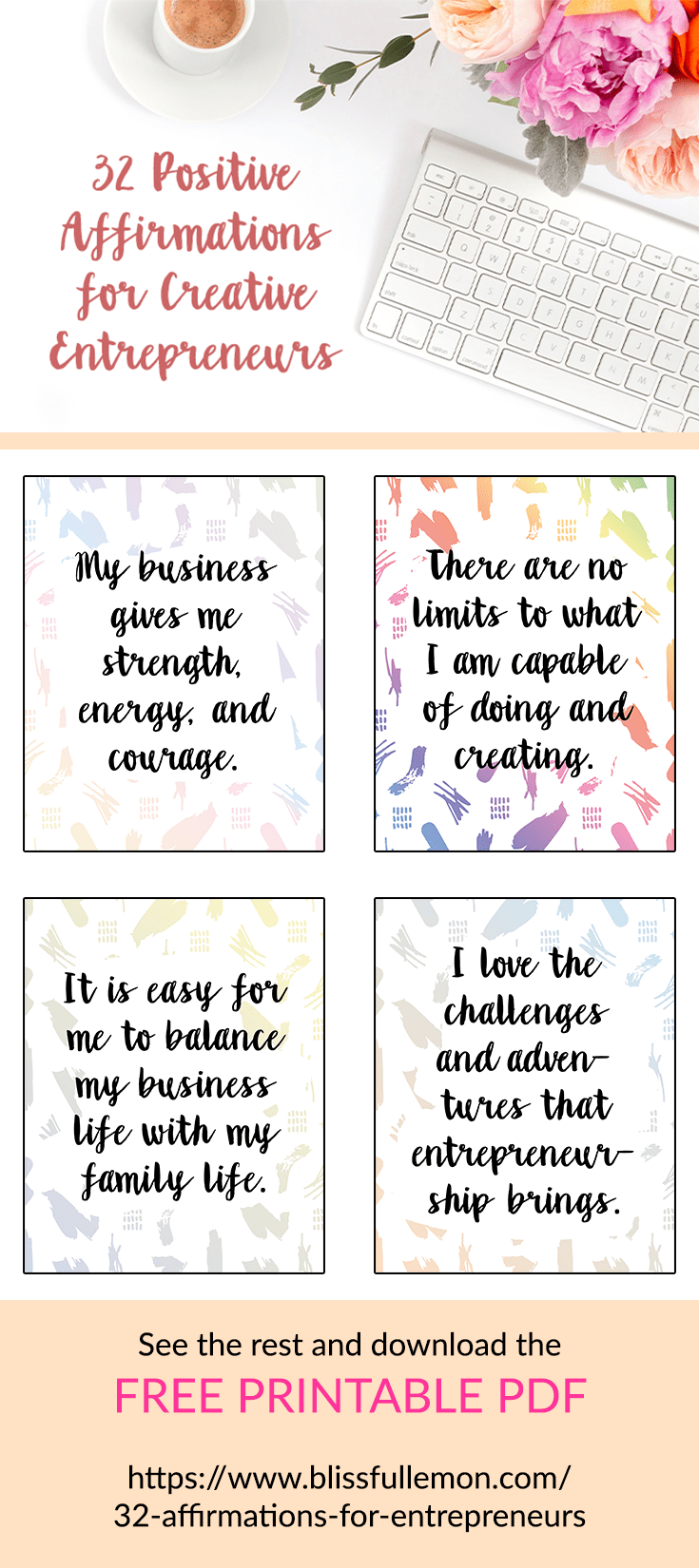Running a business is hard work and the challenges can sometimes feel overwhelming. These positive affirmations are just what you need to get out of your slump and start making things happen in your business. Check out the post to download the images for free. You can put them on your wall, inside your favorite planner, or in a frame on your desk, so you can see them as often as possible. Read more at blissfullemon.com.