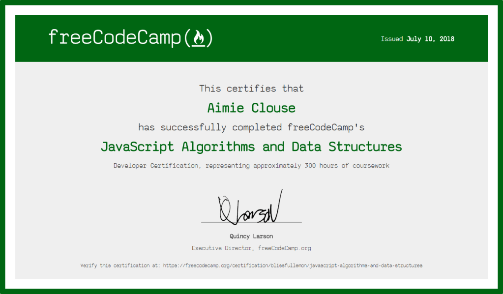 Free Code Camp JavaScript Algorithms and Data Structures Certification Certification