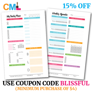 Save 15% off Color My Life purchases of $4 or more using the coupon code BLISSFUL. Code valid on Etsy shop and cmlplanner.com.