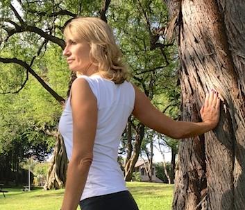 Shoulder stretch #2) Rotate entire torso away.