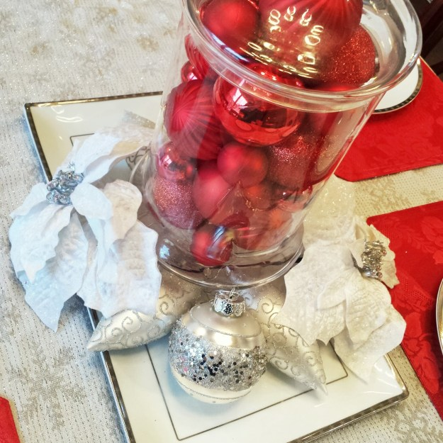 Christmas ornaments, apothecary jar