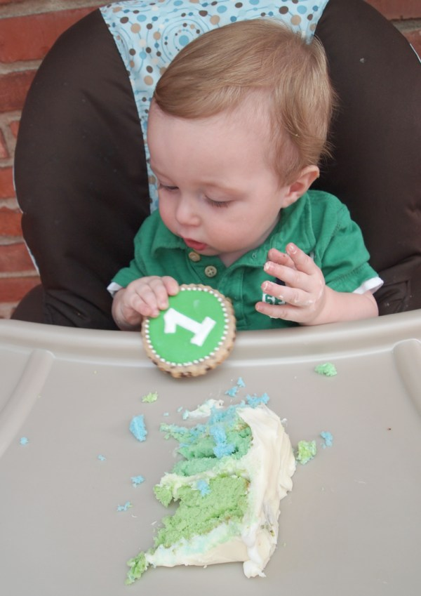 Baby E & his birthday cookie
