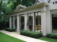 Exterior: Stucco and black windows on Pinterest
