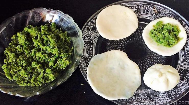 Matar Kachori/Green Peas Poori preparation