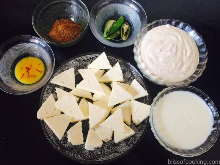 Ingredients for Dum ka Paneer