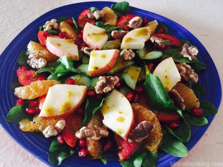 Fruit and Vegetable Salad With Honey Mustard Dressing