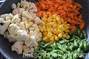 Creamy Mixed Vegetables, Indo Western Dish