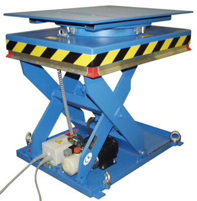 Mesa elevadora con plataforma giratoria para cargas ligeras