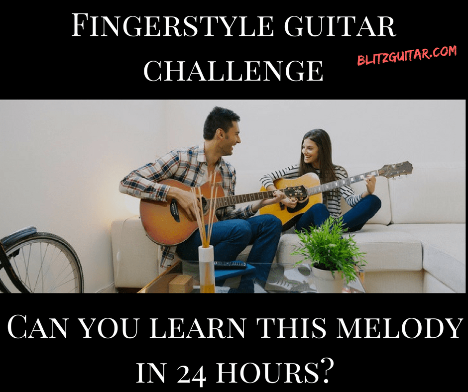 Fingerstyle guitar challenge for beginners. Acoustic guitar challenge. Fingerstyle melody.