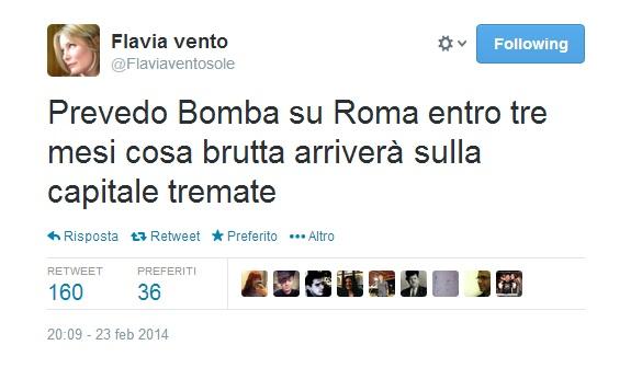 Flavia Vento Bomba su Roma entro tre mesi tremate