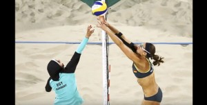 YOUTUBE Beach volley EgittoGermania Doa Elghobashy con hijab