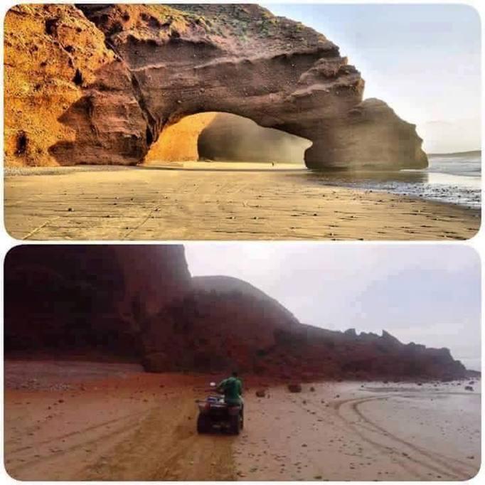 Marocco crolla arco naturale Legzira Atlantico FOTO