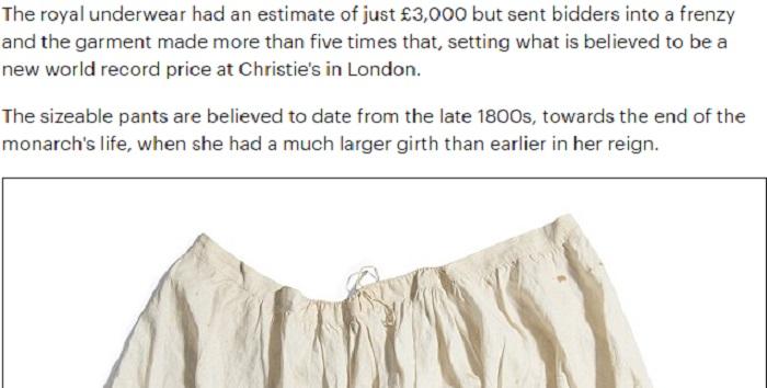 Regina Vittoria mutandoni venduti all39asta per 19mila euro Blitz quotidiano Vittoria