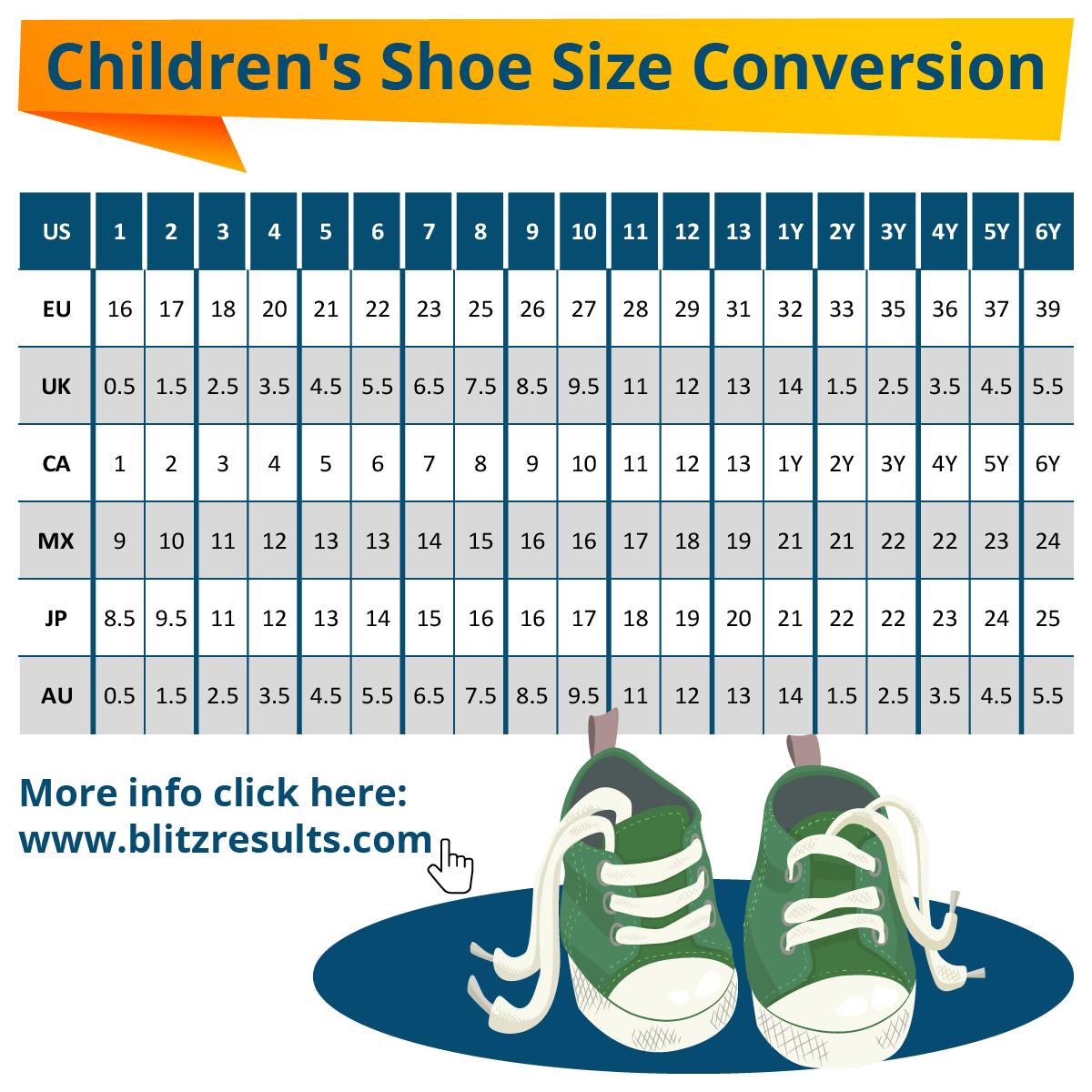 ᐅ Kids Shoe Size Conversion: UK to US. EU to US + International Charts