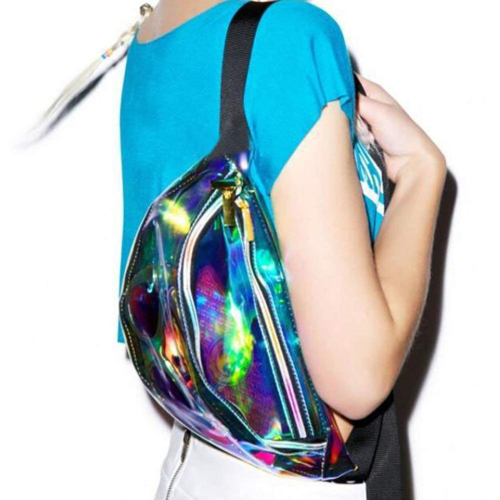 a44a1f0614cf SLB Works Punk Lady Girl Rainbow Transparent Fanny Pack Bum Women Purse  Waist Bag HICA