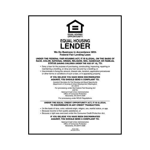 Equal Housing Lender Sign  Credit Unions White Acrylic