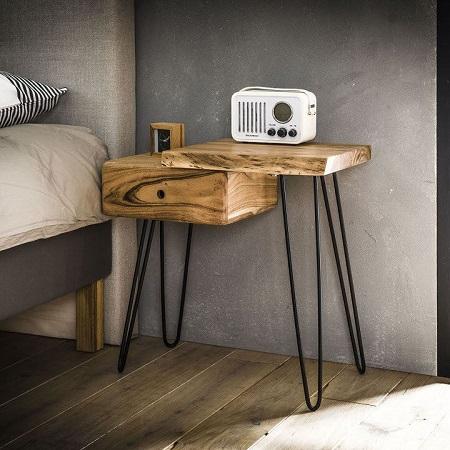 Nachtkastje hout boomstam vorm Blockdesign