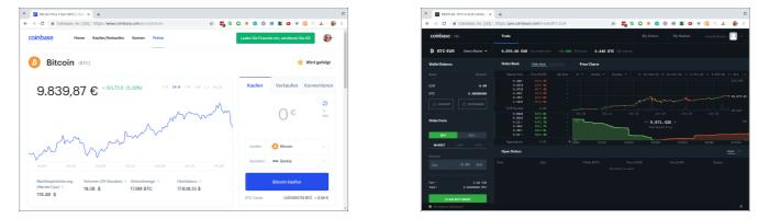 Coinbase und Coinbase Pro