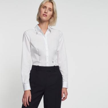 Seidensticker Wit Slim-Fit Overhemd Blouse Dames