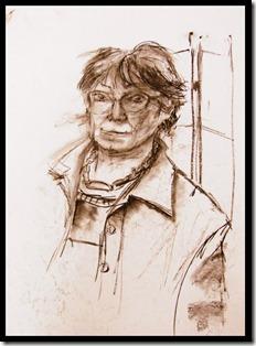 Portrait fusain dame atelier