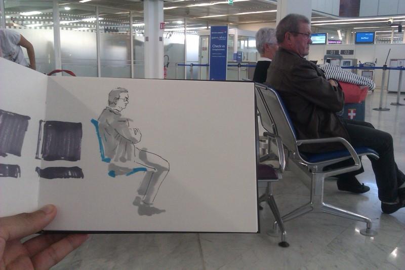 Un des portraits que j'ai dessiné sur le vif à l'aéroport