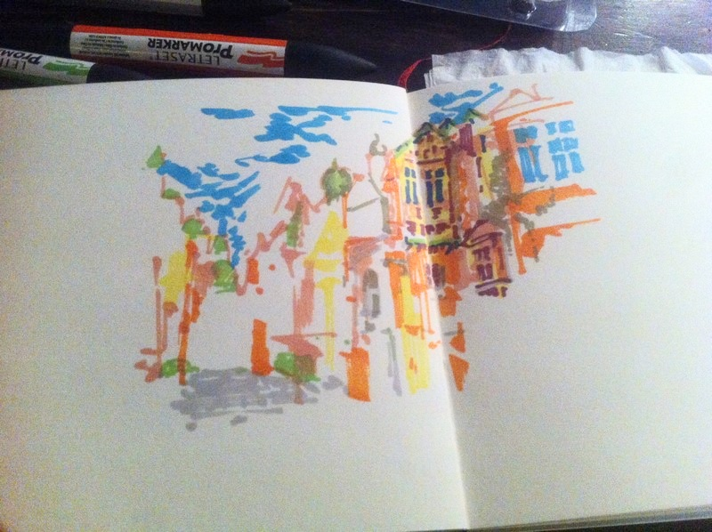 J'ai commencé à détailler la peinture dans mon dessin avec des couleurs sombres.